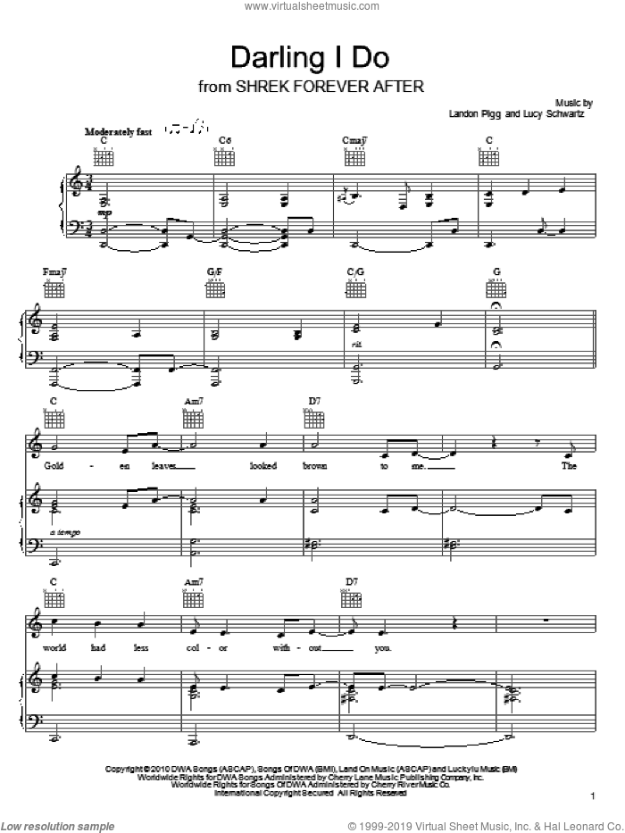 Darling I Do sheet music for voice, piano or guitar by Landon Pigg & Lucy Schwartz