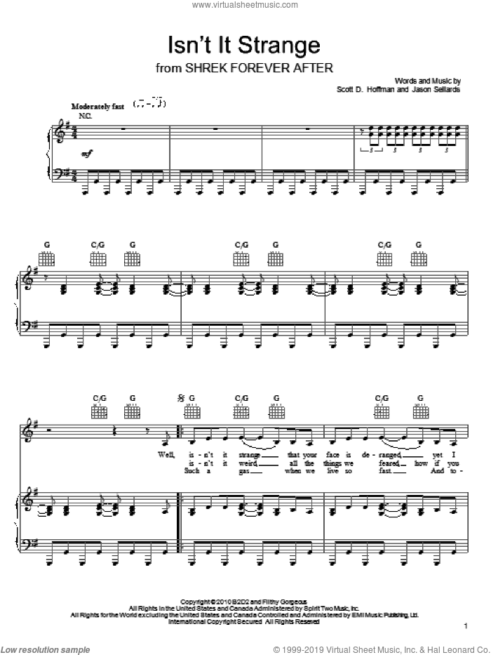Isn't It Strange sheet music for voice, piano or guitar by Scissor Sisters, intermediate voice, piano or guitar. Score Image Preview.