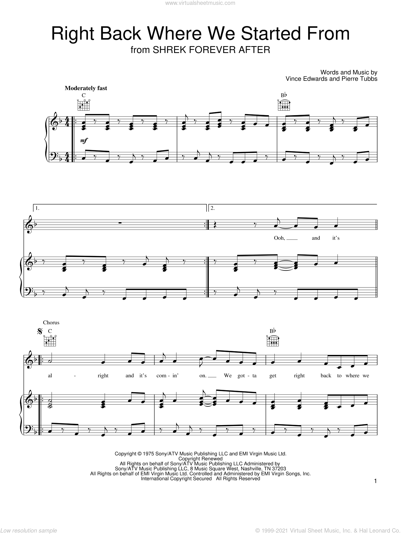 Right Back Where We Started From sheet music for voice, piano or guitar by Vince Edwards and Pierre Tubbs. Score Image Preview.