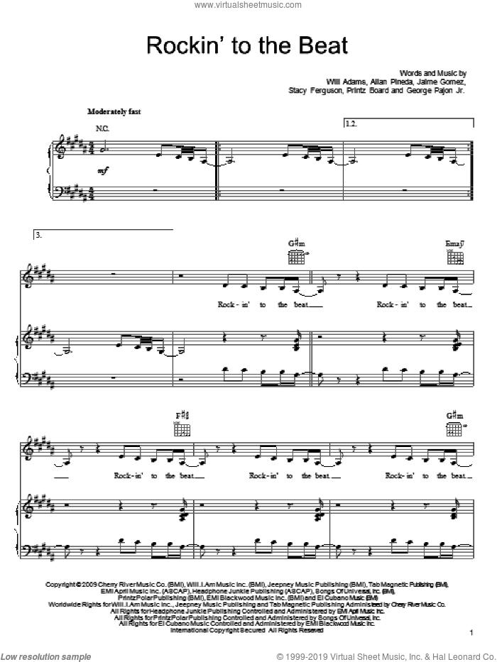 Rockin' To The Beat sheet music for voice, piano or guitar by Will Adams, Black Eyed Peas, Allan Pineda and Stacy Ferguson. Score Image Preview.