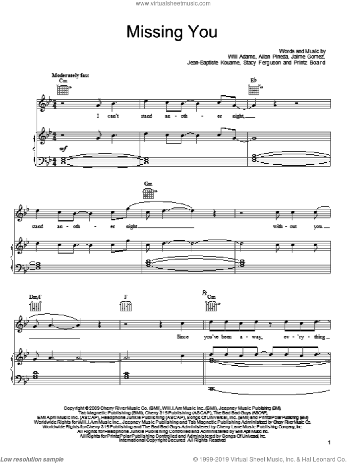 Missing You sheet music for voice, piano or guitar by Will Adams, Black Eyed Peas and Stacy Ferguson, intermediate. Score Image Preview.