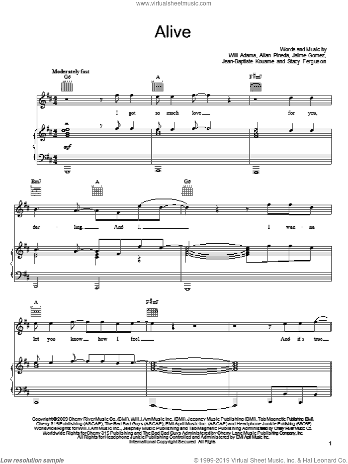 Alive sheet music for voice, piano or guitar by Will Adams, Black Eyed Peas and Stacy Ferguson, intermediate voice, piano or guitar. Score Image Preview.