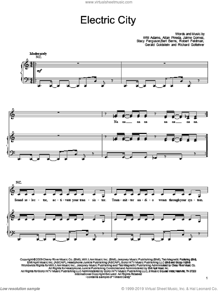 Electric City sheet music for voice, piano or guitar by Will Adams and Black Eyed Peas, intermediate