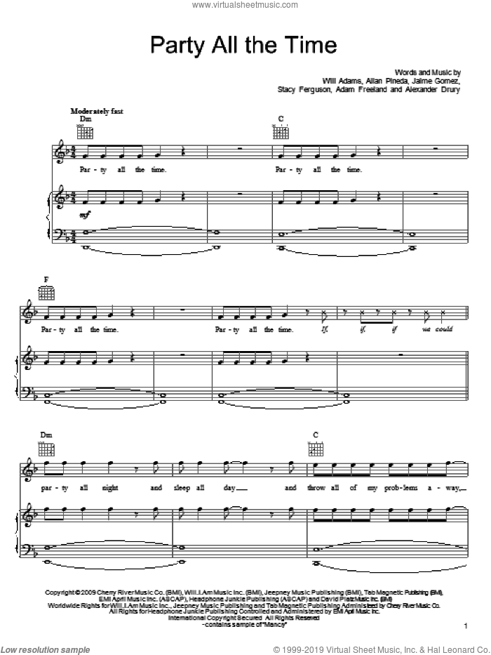 Party All The Time sheet music for voice, piano or guitar by Will Adams, Black Eyed Peas, Allan Pineda and Stacy Ferguson. Score Image Preview.