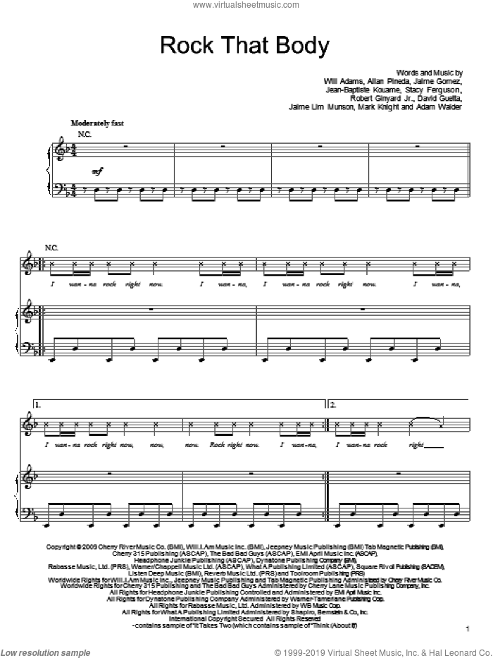 Rock That Body sheet music for voice, piano or guitar by Will Adams, Black Eyed Peas, Allan Pineda, David Guetta and Stacy Ferguson. Score Image Preview.