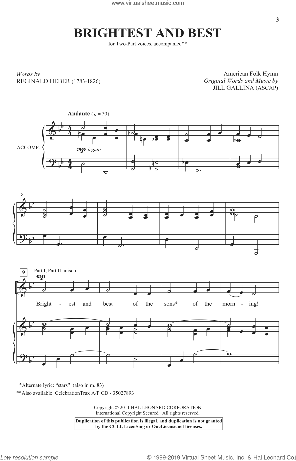 Brightest And Best sheet music for choir and piano (duets)