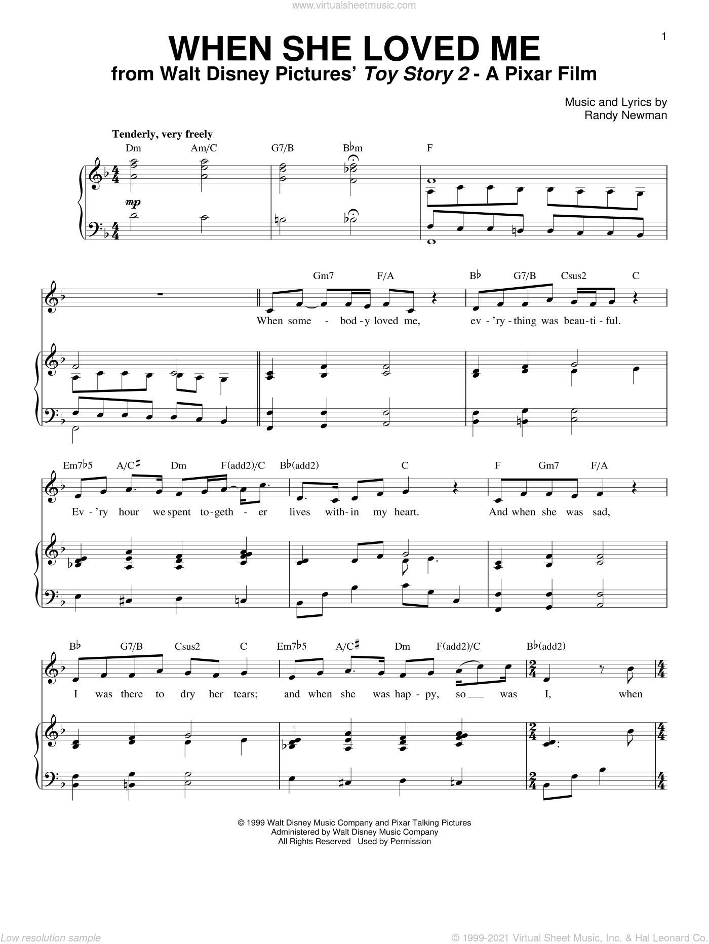 When She Loved Me (from Toy Story 2) sheet music for voice and piano by Sarah McLachlan, Toy Story 2 (Movie) and Randy Newman, intermediate skill level