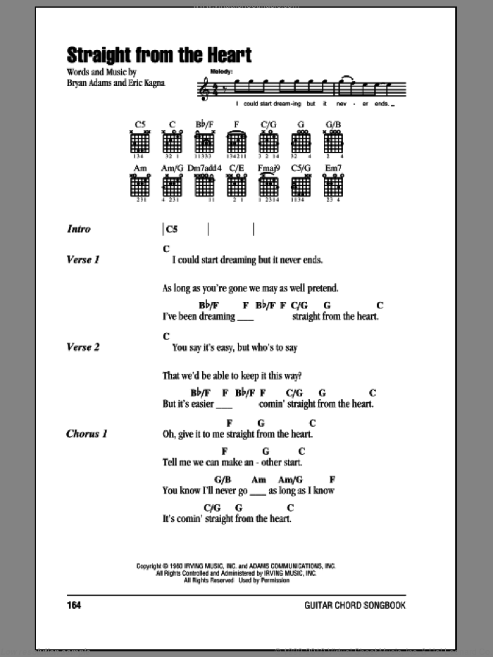 Straight From The Heart sheet music for guitar (chords) by Bryan Adams, intermediate. Score Image Preview.