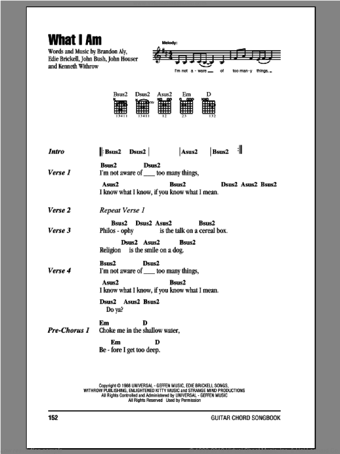 What I Am sheet music for guitar (chords) by Edie Brickell. Score Image Preview.