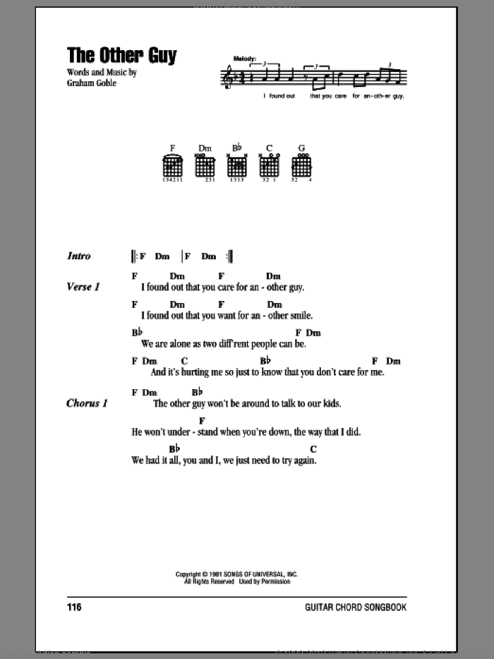The Other Guy sheet music for guitar (chords) by Graham Goble