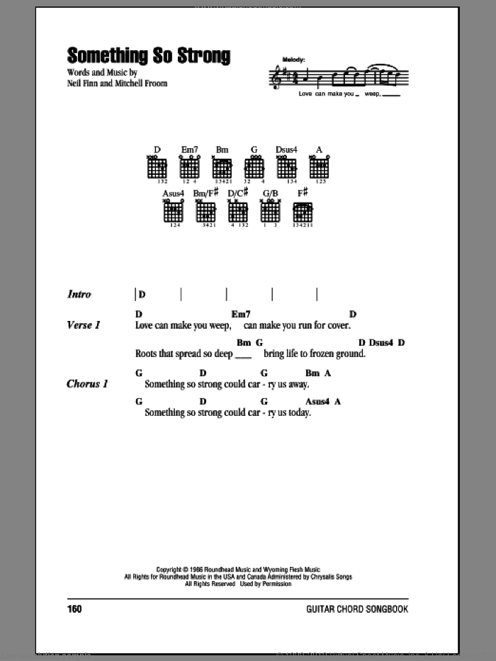 Something So Strong sheet music for guitar (chords) by Neil Finn