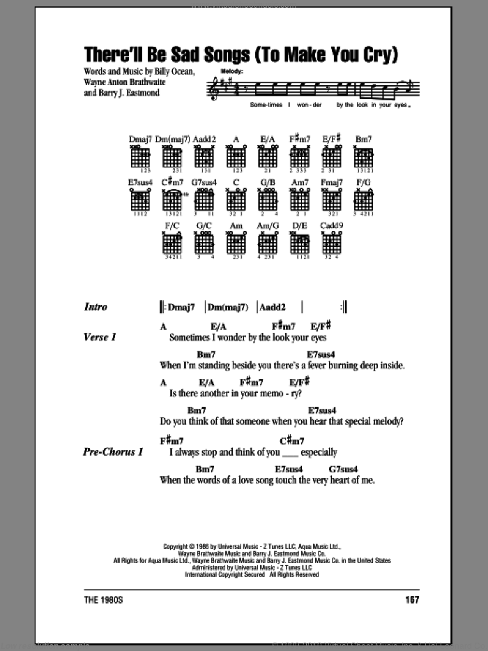 There'll Be Sad Songs (To Make You Cry) sheet music for guitar (chords) by Wayne Brathwaite