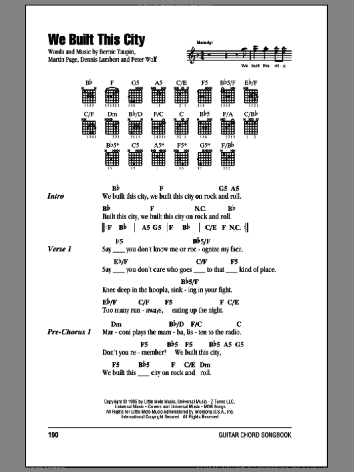 We Built This City sheet music for guitar (chords) by Starship, Bernie Taupin, Martin George Page and Peter Wolf