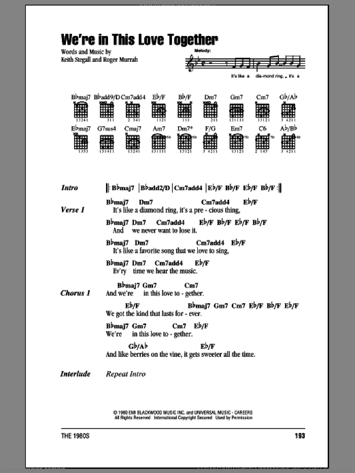 We're In This Love Together sheet music for guitar (chords) by Roger Murrah, Al Jarreau and Keith Stegall. Score Image Preview.