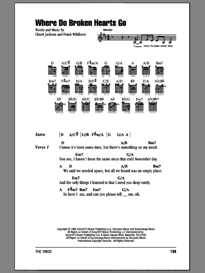 Where Do Broken Hearts Go sheet music for guitar (chords) by Frank Wildhorn, Whitney Houston and Chuck Jackson. Score Image Preview.
