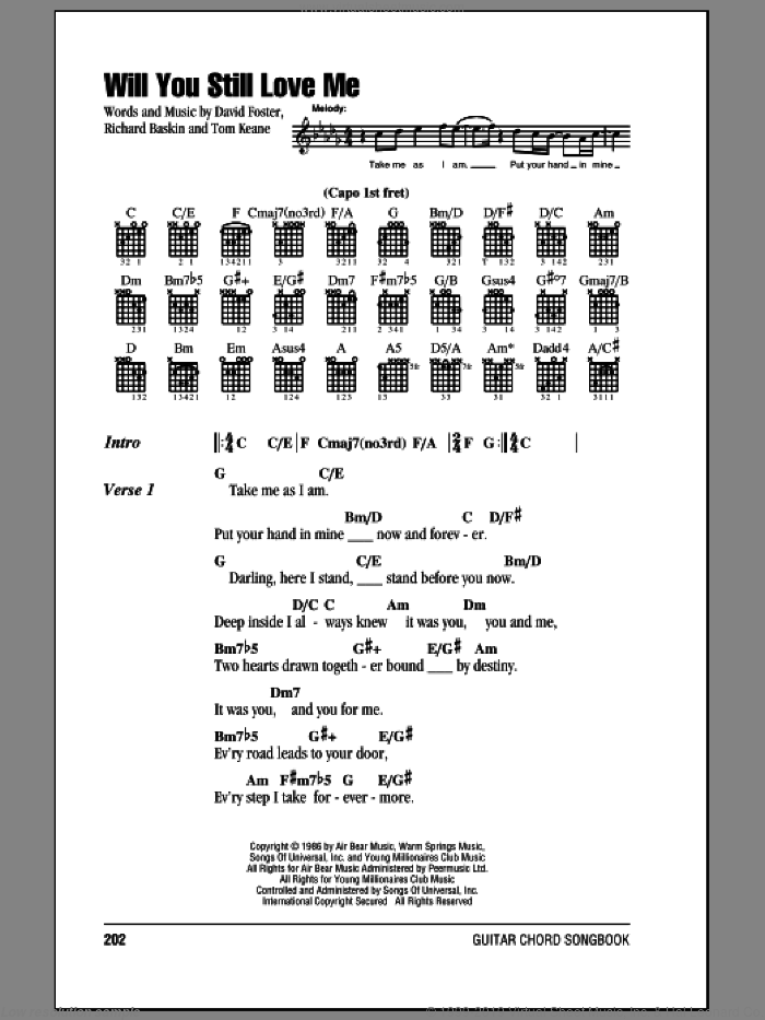Will You Still Love Me sheet music for guitar (chords) by Chicago, David Foster, Richard Baskin and Tom Keane, intermediate skill level