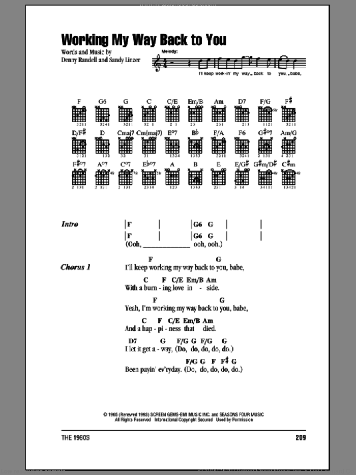 Working My Way Back To You sheet music for guitar (chords) by Frankie Valli & The Four Seasons and Sandy Linzer, intermediate guitar (chords). Score Image Preview.