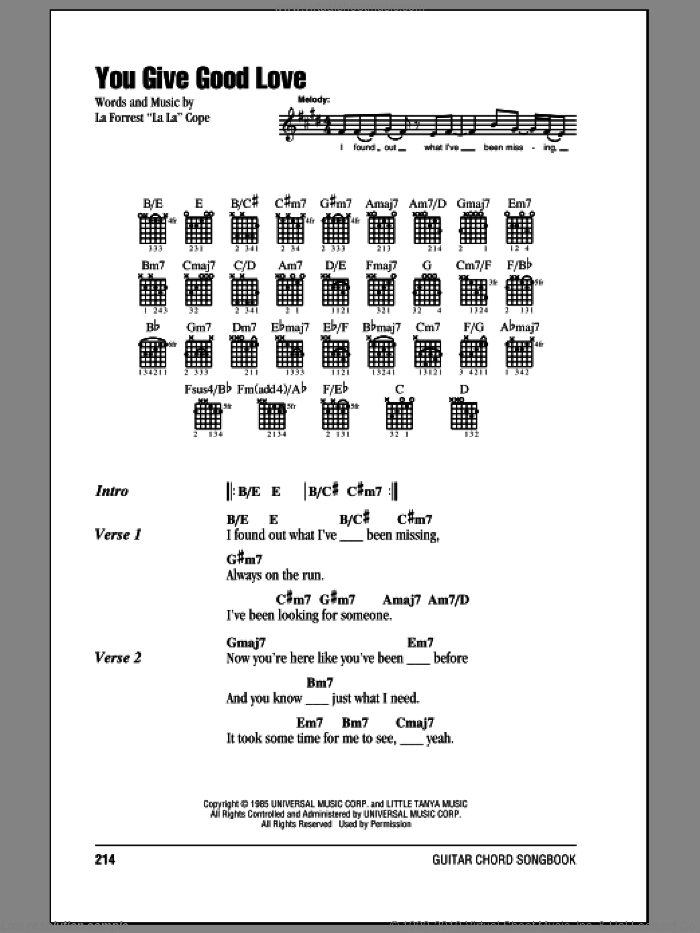 You Give Good Love sheet music for guitar (chords) by Whitney Houston, intermediate