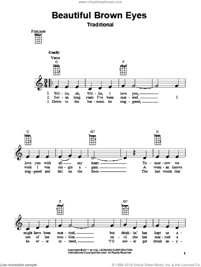 Beautiful Brown Eyes sheet music for ukulele, intermediate skill level