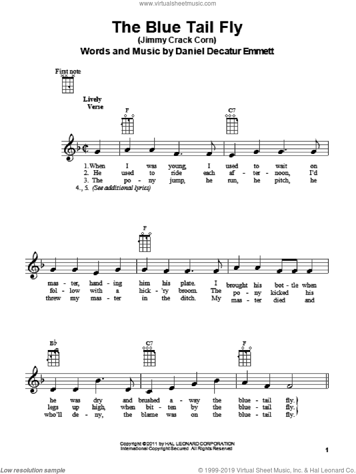 The Blue Tail Fly (Jimmy Crack Corn) sheet music for ukulele by Daniel Decatur Emmett, intermediate skill level