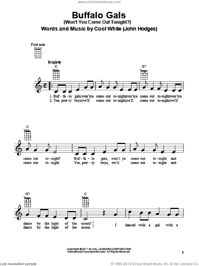 Buffalo Gals (Won't You Come Out Tonight?) sheet music for ukulele by Cool White. Score Image Preview.