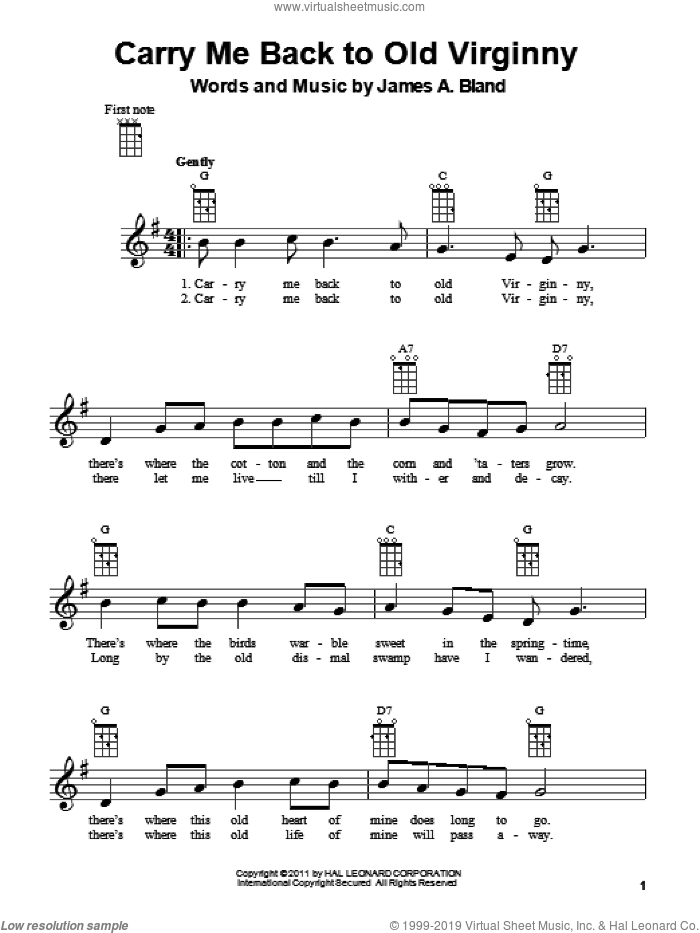 Carry Me Back To Old Virginny sheet music for ukulele by James A. Bland