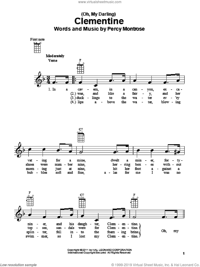 (Oh, My Darling) Clementine sheet music for ukulele by Percy Montrose, intermediate skill level