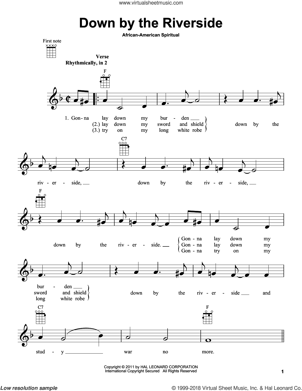 Down By The Riverside sheet music for ukulele, intermediate ukulele. Score Image Preview.