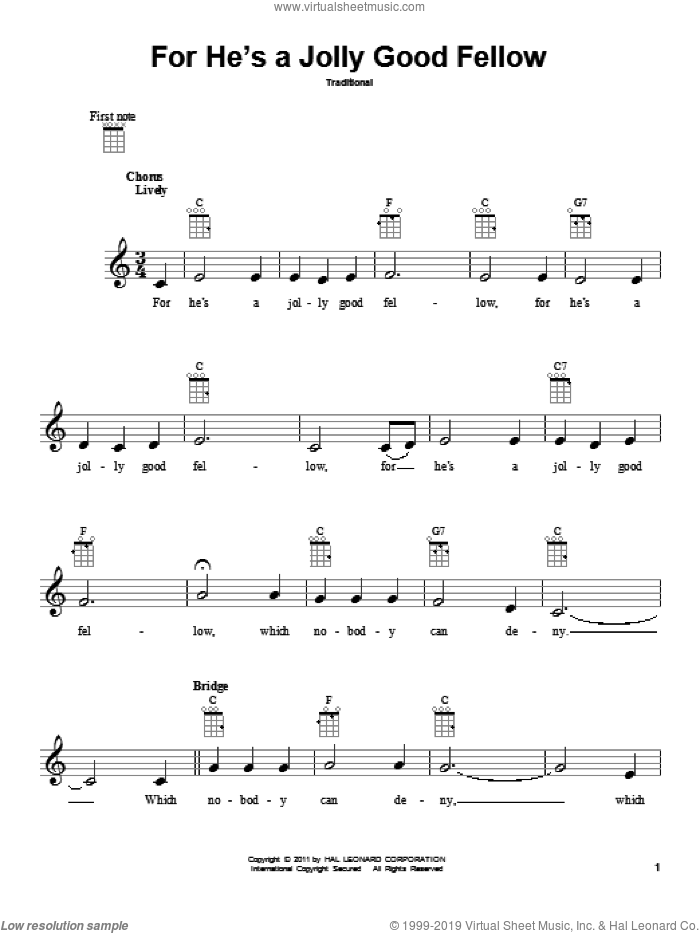 For He's A Jolly Good Fellow sheet music for ukulele. Score Image Preview.
