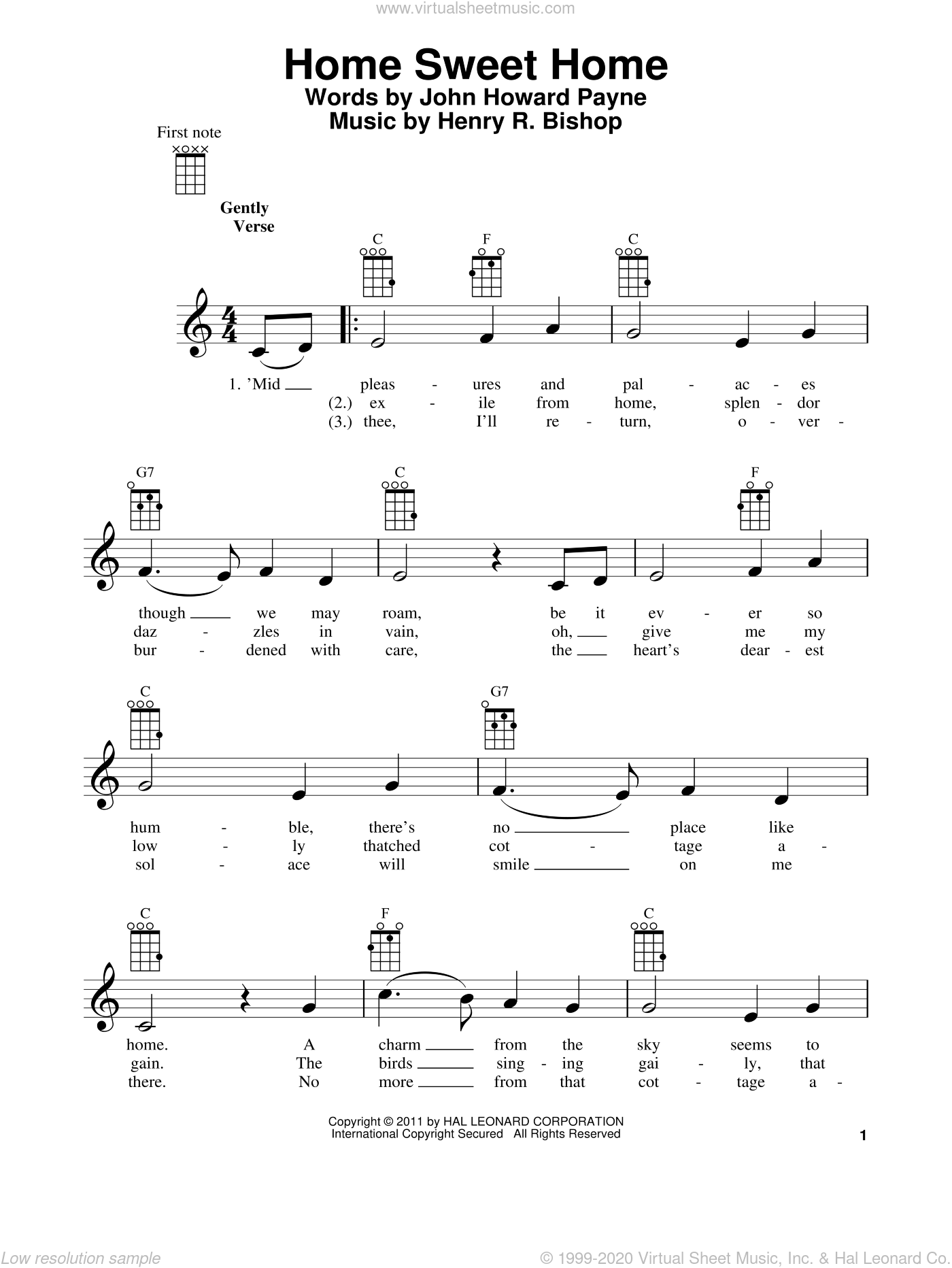 Home Sweet Home sheet music for ukulele by John Howard Payne and Henry Rowley Bishop, intermediate skill level