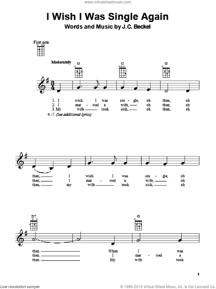I Wish I Were Single Again sheet music for ukulele by J.C. Beckel. Score Image Preview.