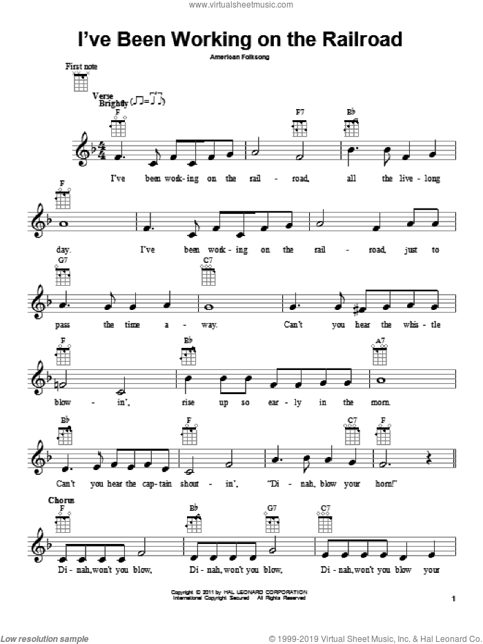 I've Been Working On The Railroad sheet music for ukulele, intermediate. Score Image Preview.