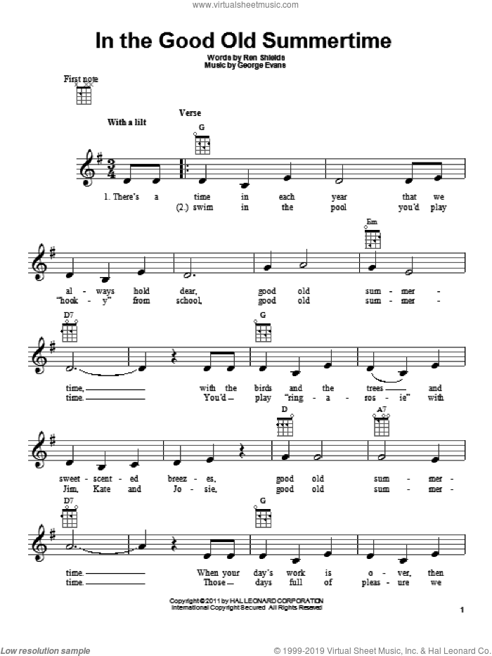 In The Good Old Summertime sheet music for ukulele by Ren Shields and George Evans, intermediate skill level