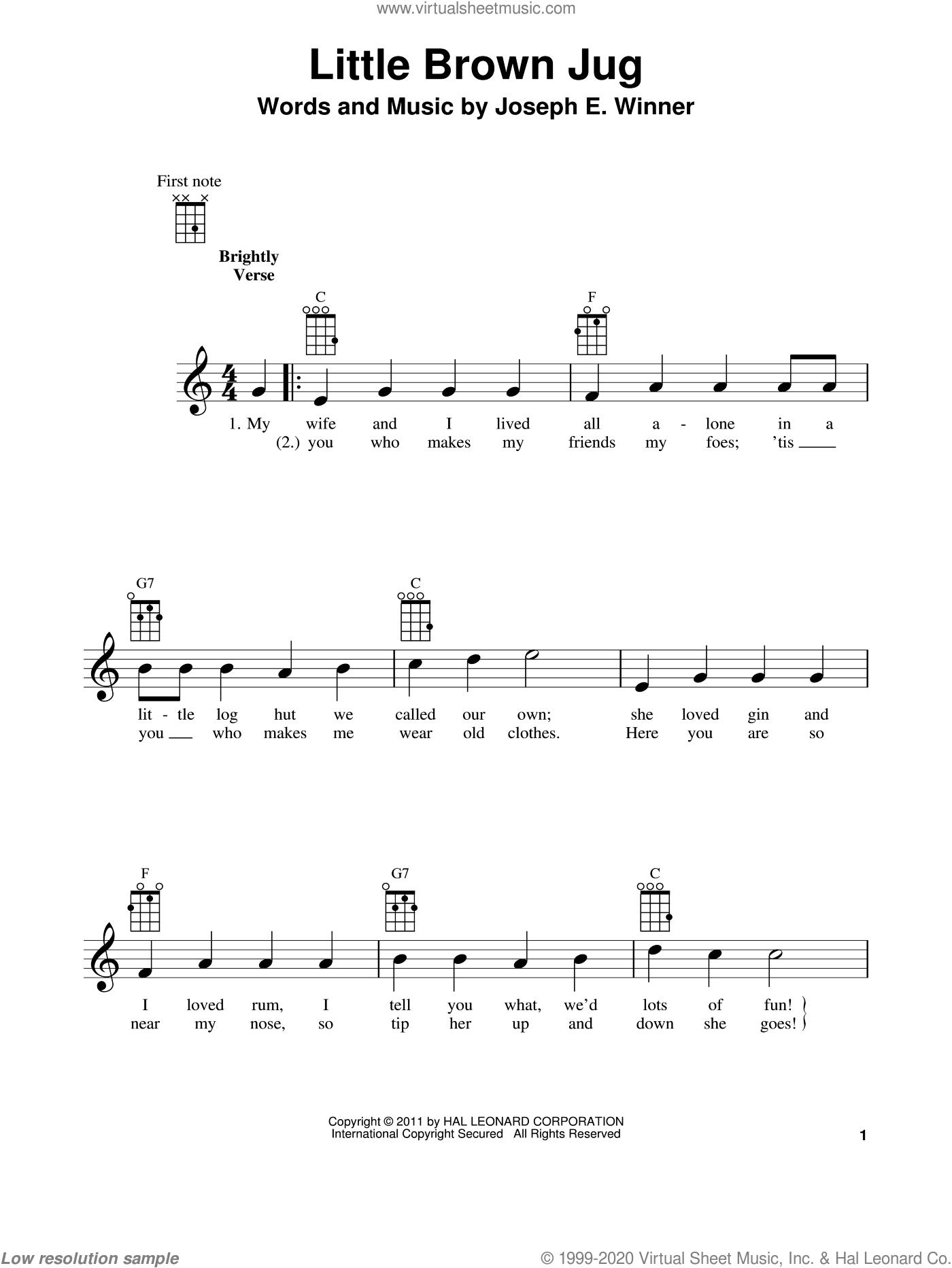 Little Brown Jug sheet music for ukulele by Joseph E. Winner, intermediate skill level