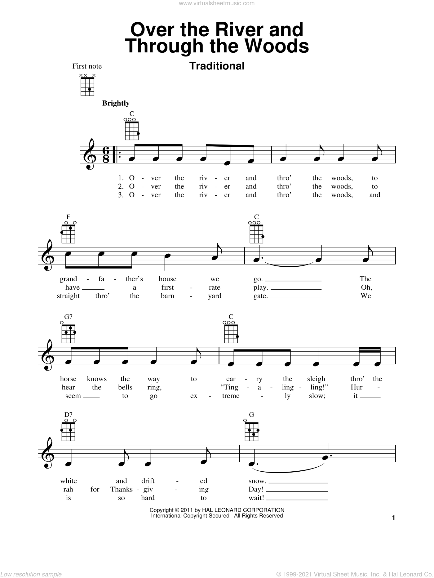 Over The River And Through The Woods sheet music for ukulele, intermediate skill level