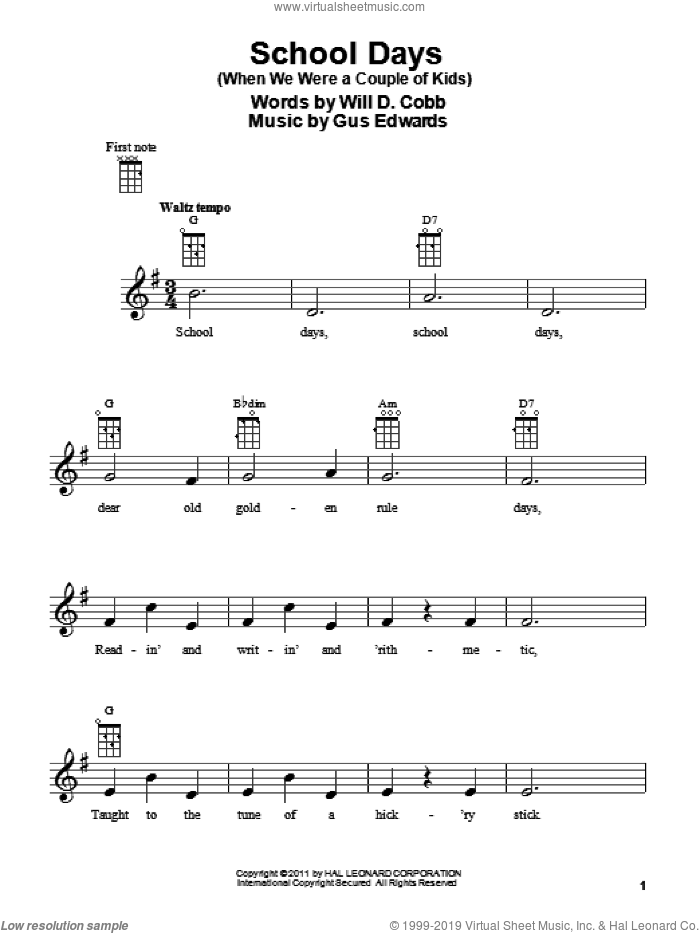 School Days (When We Were A Couple Of Kids) sheet music for ukulele by Gus Edwards