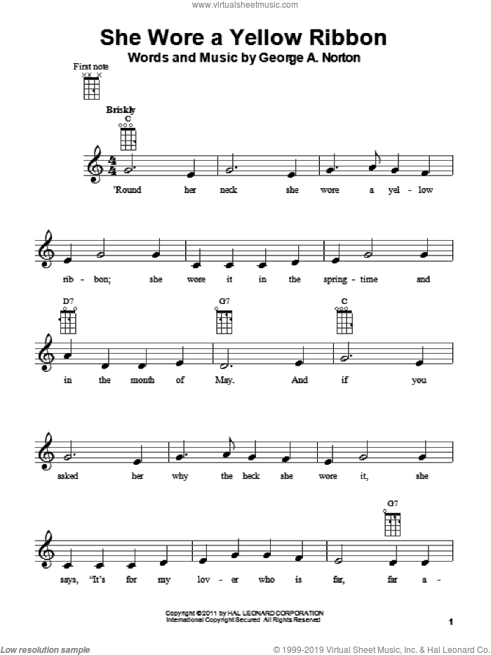 She Wore A Yellow Ribbon sheet music for ukulele by George A. Norton, intermediate skill level