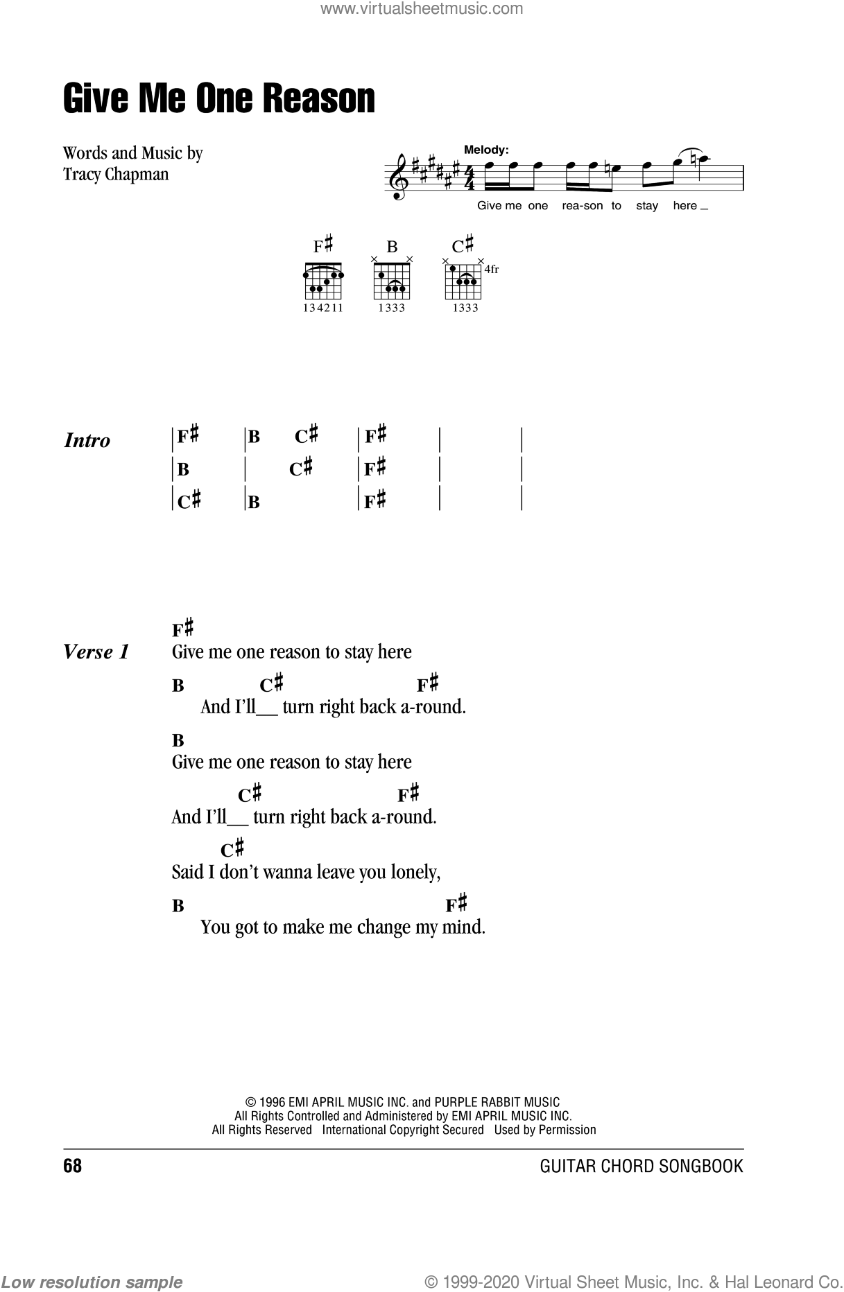 Give Me One Reason sheet music for guitar (chords) by Tracy Chapman. Score Image Preview.