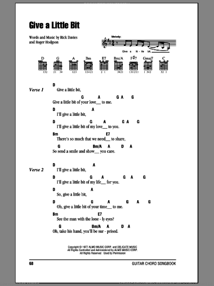 Give A Little Bit sheet music for guitar (chords) by Roger Hodgson, Supertramp and Rick Davies. Score Image Preview.