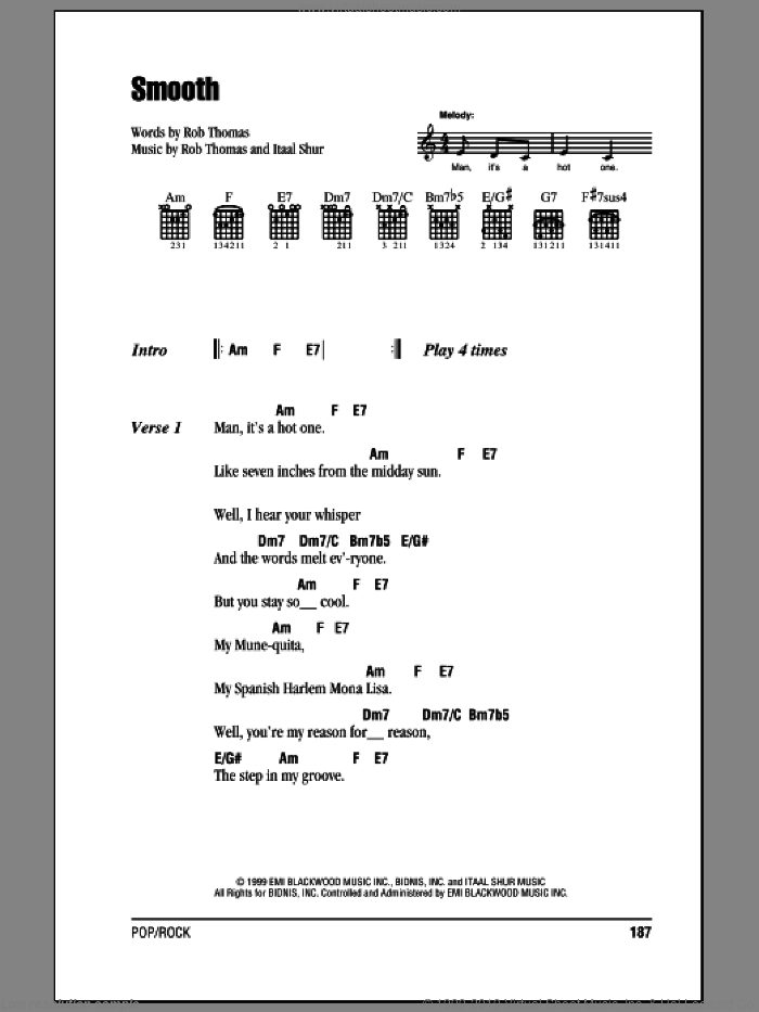 Smooth sheet music for guitar (chords) by Santana featuring Rob Thomas and Rob Thomas. Score Image Preview.