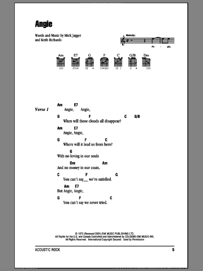 Angie sheet music for guitar (chords) by Mick Jagger, The Rolling Stones and Keith Richards. Score Image Preview.