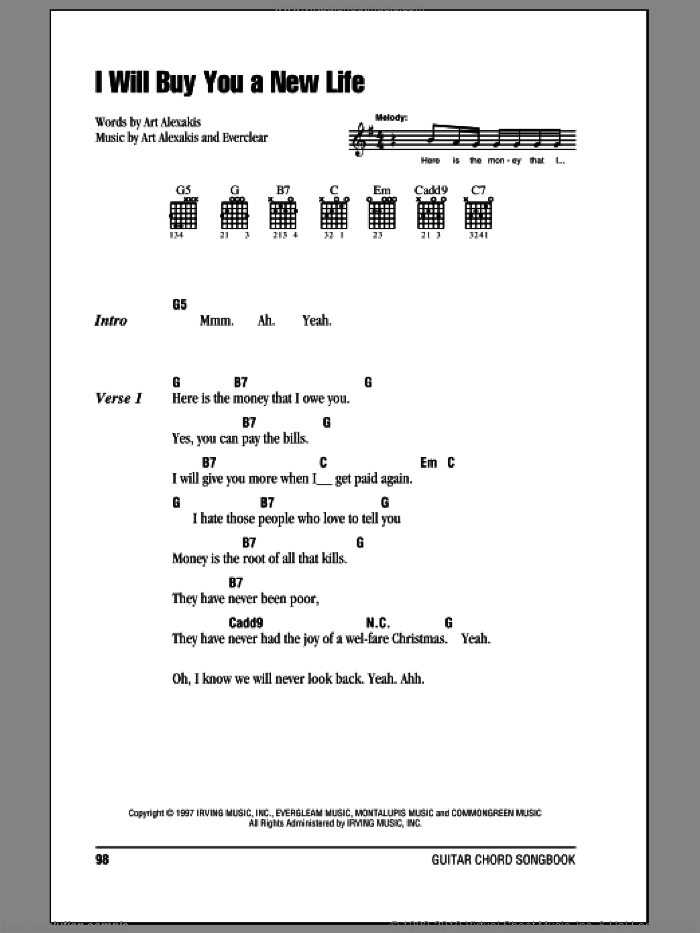 I Will Buy You A New Life sheet music for guitar (chords) by Everclear, intermediate guitar (chords). Score Image Preview.