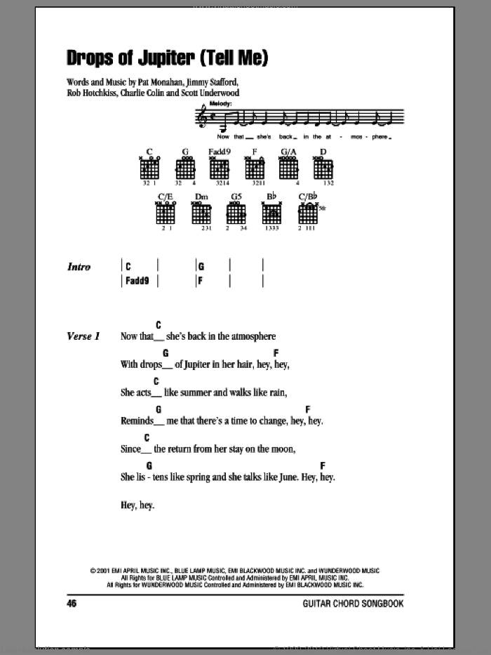 Drops Of Jupiter (Tell Me) sheet music for guitar (chords) by Scott Underwood