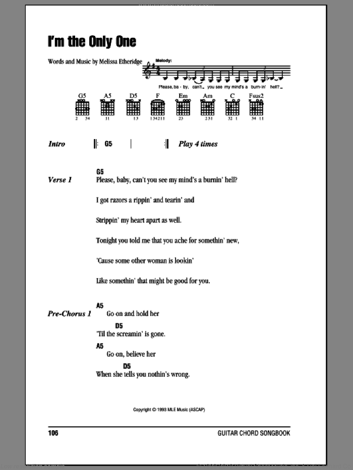 I'm The Only One sheet music for guitar (chords) by Melissa Etheridge. Score Image Preview.