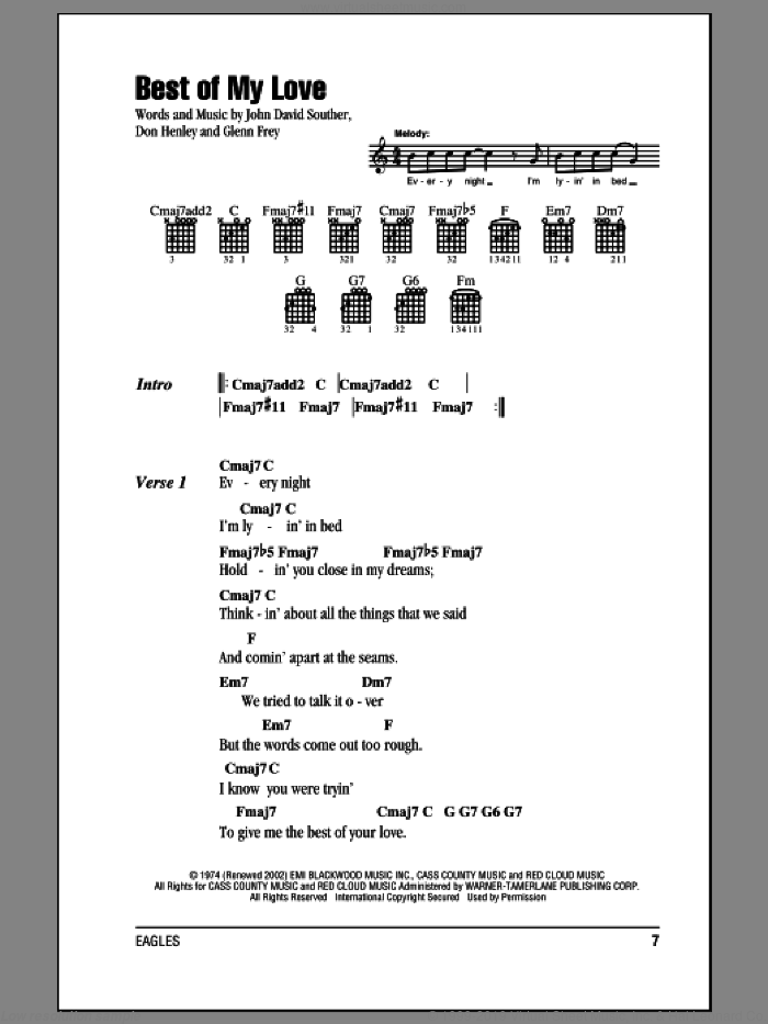Best Of My Love sheet music for guitar (chords) by Eagles, Don Henley, Glenn Frey and John David Souther, intermediate. Score Image Preview.