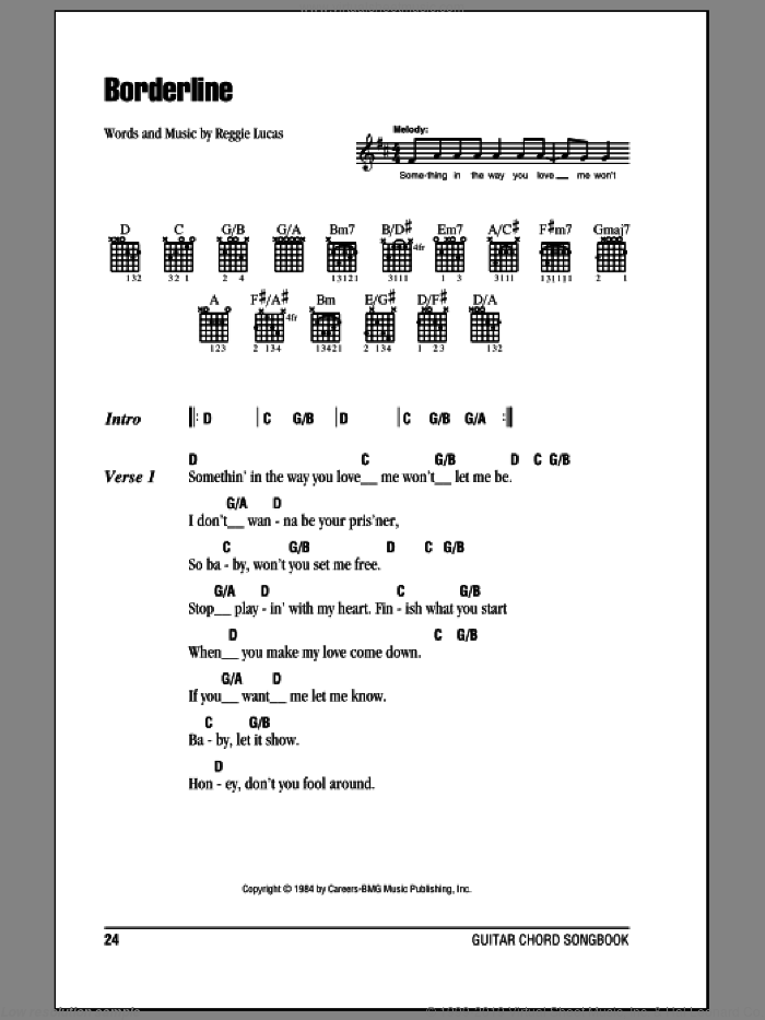 Borderline sheet music for guitar (chords) by Madonna and Reggie Lucas, intermediate