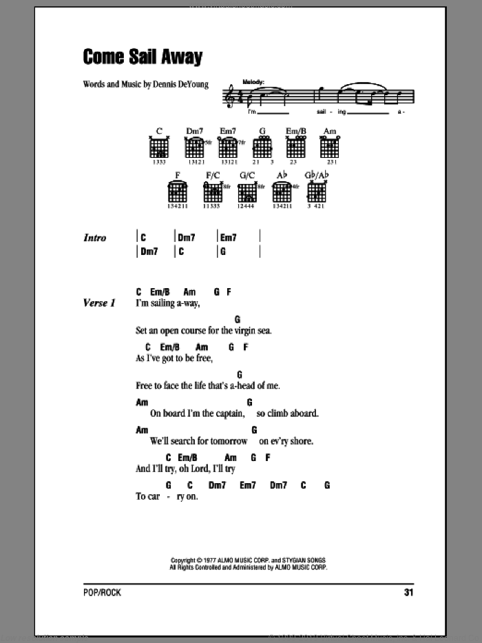 Come Sail Away sheet music for guitar (chords) by Dennis DeYoung