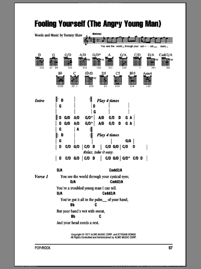 Fooling Yourself (The Angry Young Man) sheet music for guitar (chords) by Styx and Tommy Shaw, intermediate skill level
