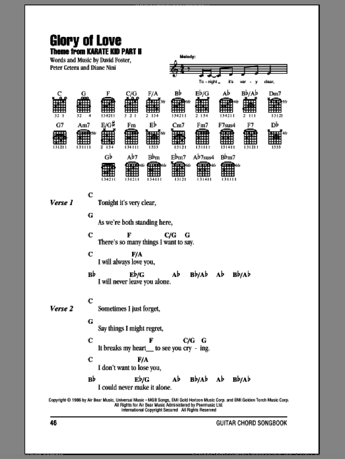 Glory Of Love sheet music for guitar (chords) by Peter Cetera, David Foster and Diane Nini, wedding score, intermediate skill level
