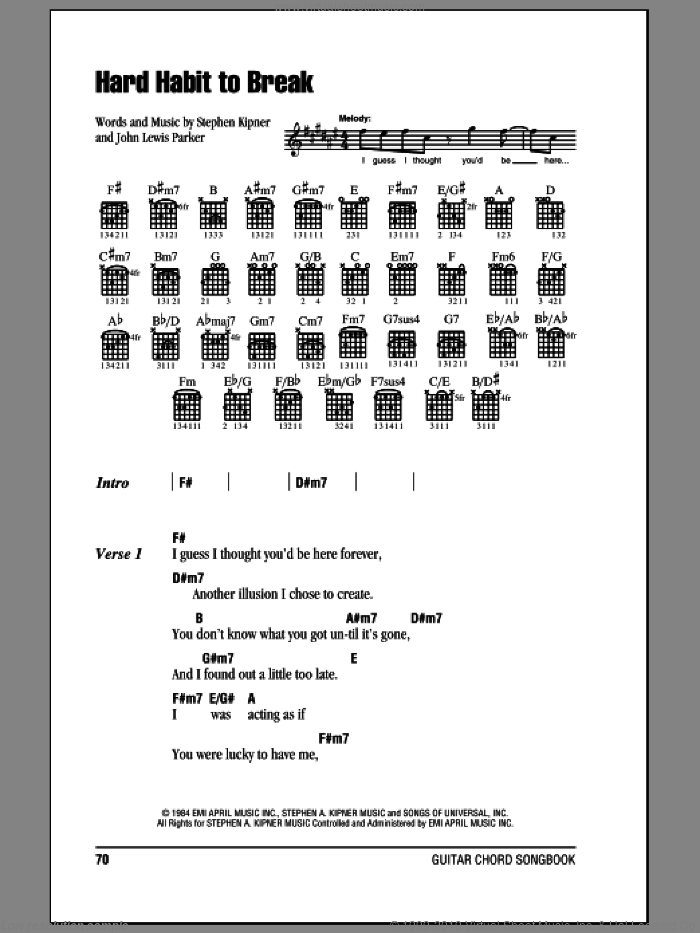 Chicago Hard Habit To Break Sheet Music For Guitar Chords